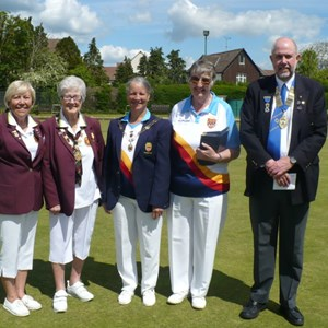 President Mike Geake welcomes Somerset & Surrey County Ladies to Butts Hill July 2014