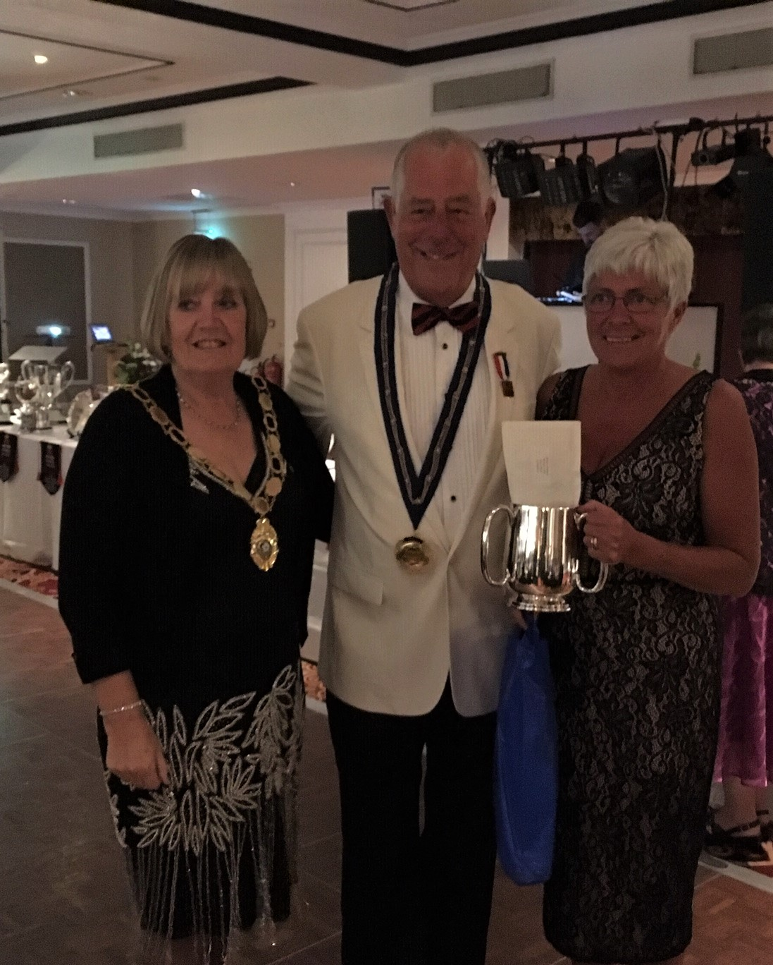 Tina Robinson Yorkshire Ladies President 2018, Bill Smith BE President 2018, Sue Allen National Senior Singles Champion 2018