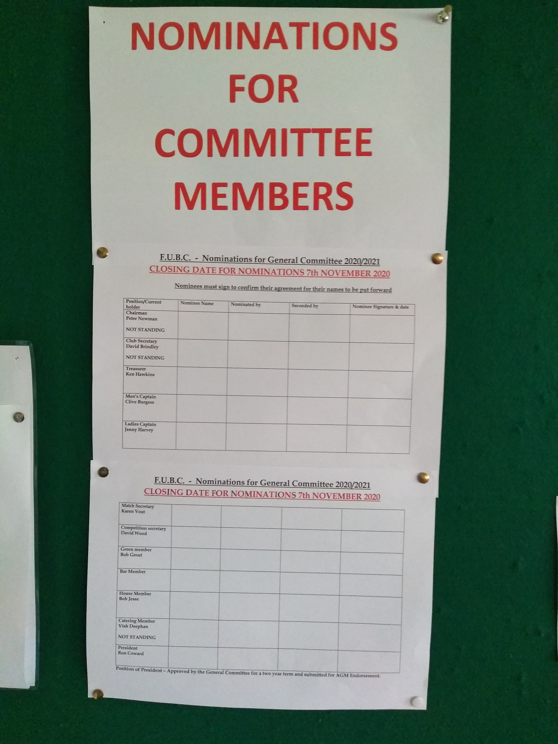 Fleet United Bowling Club AGM Committee Nomination