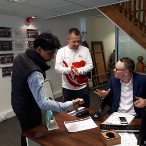 David showing his Bronze Medal to LLoyd and Baz from Stonhills Estate Agents in Daventry, who are one of the Sponsors of David's Visit
