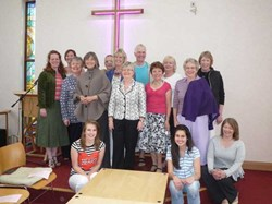 The volunteer models and compere at the Recycled Fashion Show in Alton Methodist Church.