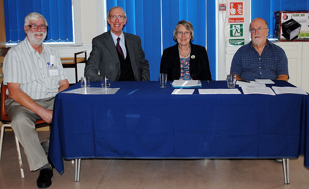 Some of the Committee elected for 2014 are l to r: Trevor Muston (Technical), Christopher Golding (Vice Chairman), Janet Crabtree (Chairman) and Graham Dean (Secretary).