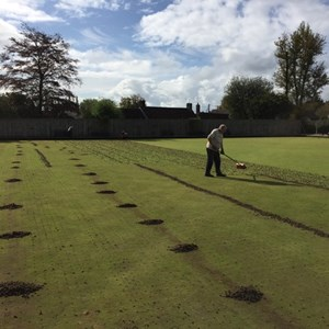 Initial coring of the green