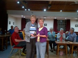 Doreen Cummings (Left) Presents Janet Lake with the Ladies Winners Prize