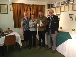Club Champions 2017 Pam Lawford & Andy Meek (centre) with the Club Presidents