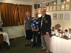 (L-R) Ladies Vice President Lynda Henderson,  Ladies 2 Wood Champion Maureen Ansty, and Men's President David Hall