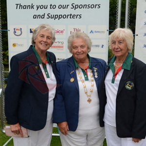 At Nationals Leamington, Betty Bell, Joy President of Bowls Leics Ladies, Annette Oliver