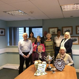 Members' visit to Beamish Museum with a selection of trophies being donated for the 1950s bowling pavilion