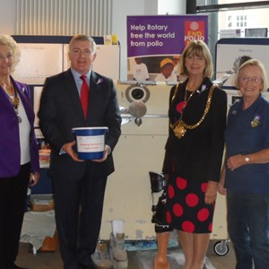 Mark Prisk MP together with Hertford Mayor Linda Radford visit the exhibition and are welcomed by Club President, Pam Rutherford and Rotarian Jill Geall.