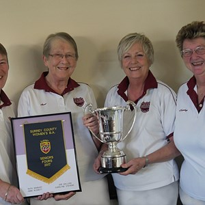 2017 Surrey Senior Fours Winners Ruth Newbury, Anne Blewett, Zoe Hollins and Carolyne Stevens.