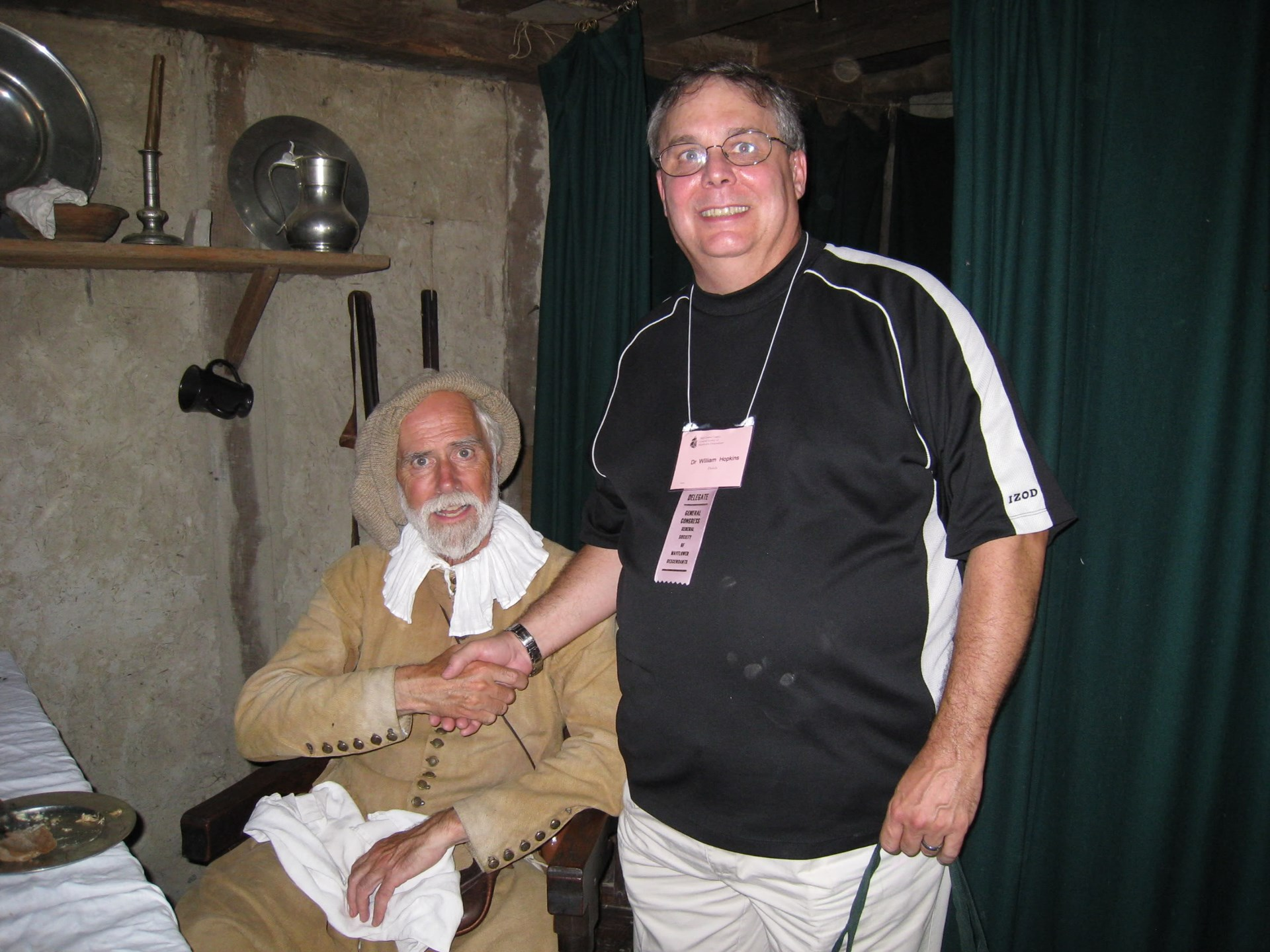 One of the descendants of Stephen Hopkins with an actor in the role of Stephen at the Plymouth Plantation, a re-creation of Plymouth as it would have been in 1627.
