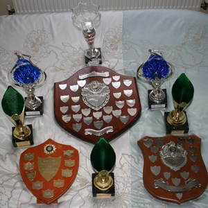 The darts trophies won by CMOBC 1
