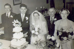 I am adding a photograph of our wedding, showing Dennis, myself, my Dad, Sheila (My bridesmaid) and Bill (Dennis's best man).