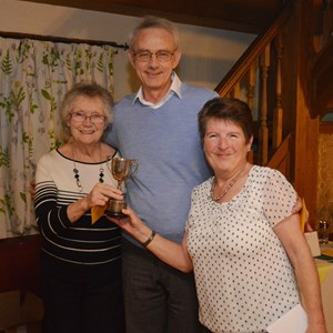 Sandy Fingerhut, David Anley and Mary Butchers - Triples winners 2016