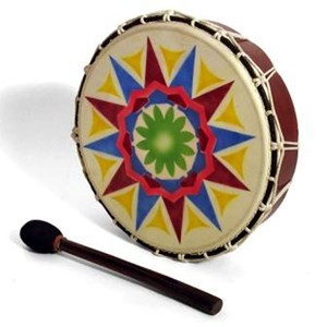Round, wooden framed drum with string tensioning. Bright, colourful painting on the skin