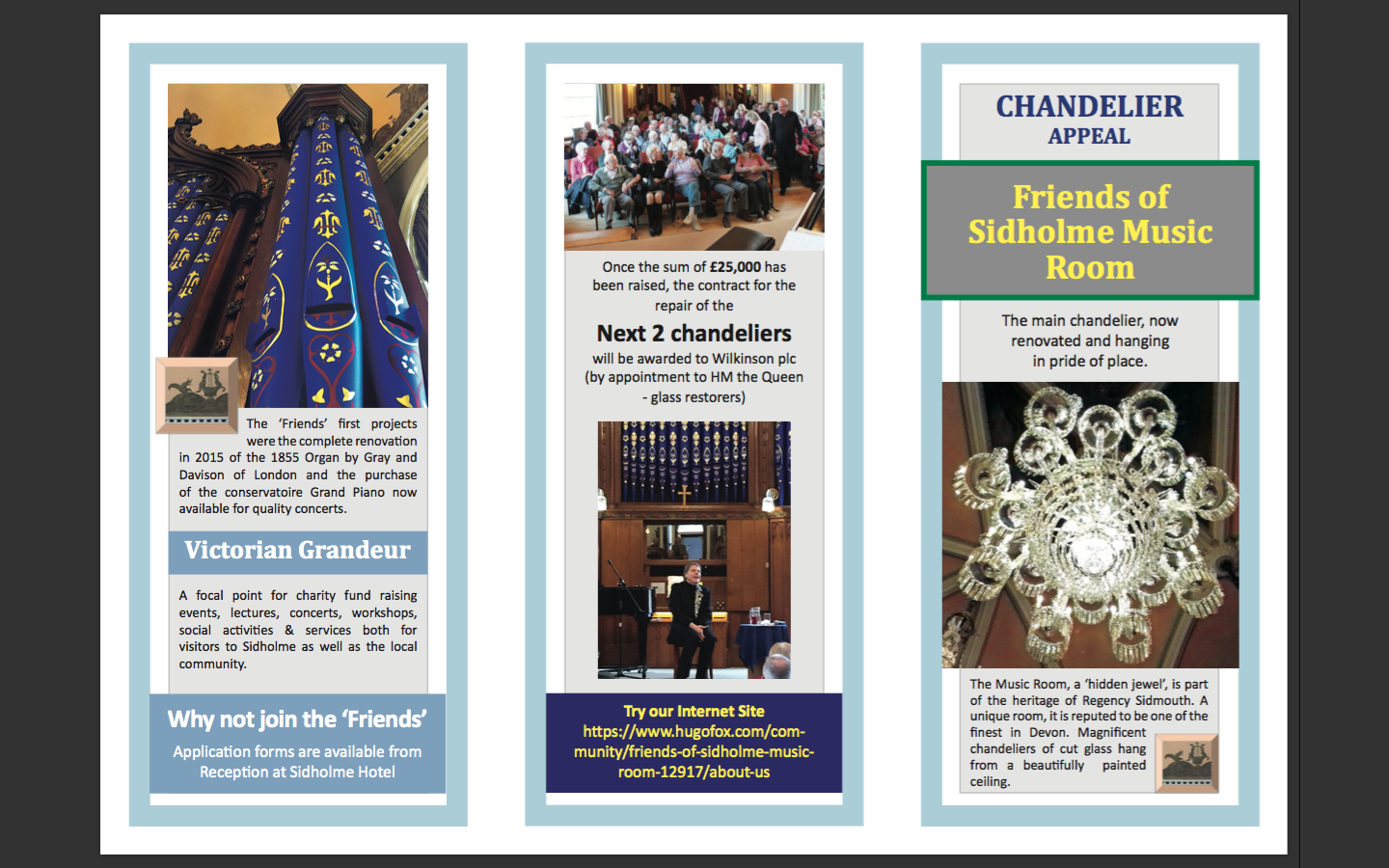 Friends of Sidholme Music Room Tri-Fold Brochure for Chandelier Project