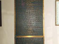 Brass tablet commemorating the Fallen of South Collingham, St John the Baptist