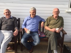 John. Keith and Dave enjoying the beautiful April sunshine and a cup of tea