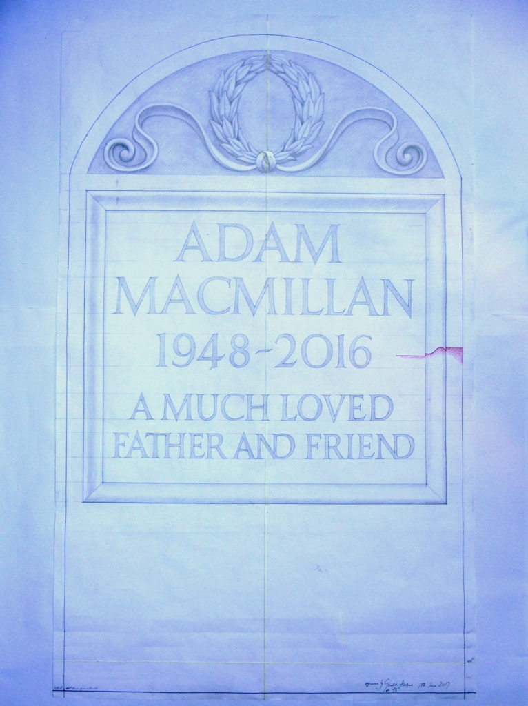 Proposed design for Adam Macmillan headstone