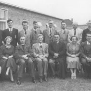 Trench Boys' Modern School Staff in 1956. Amongst the faces are Headteacher Harold Fletcher, Sir John Hunt and Reverend G. Smith.