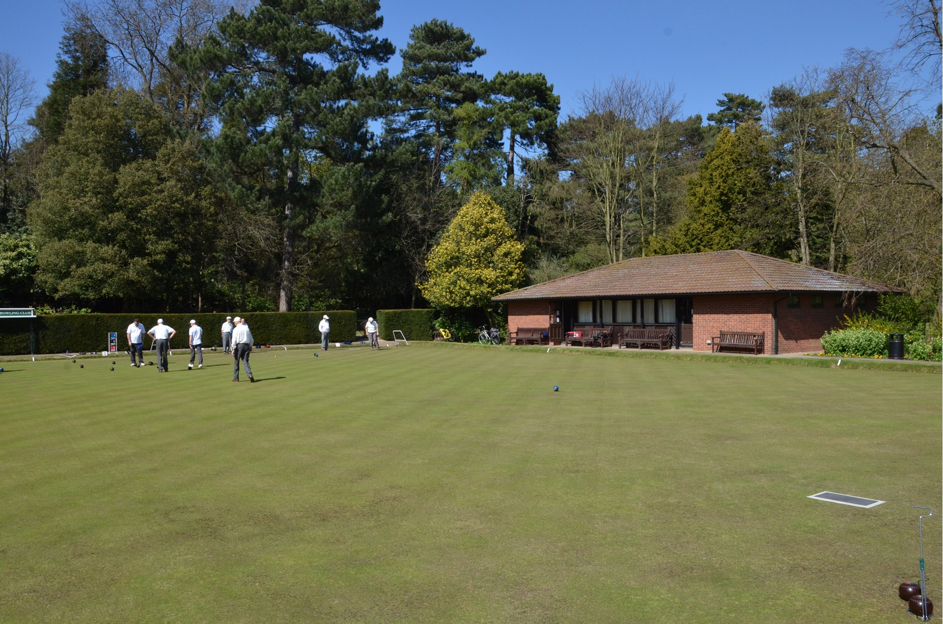 Bowling at the club grounds - in the sunshine.
