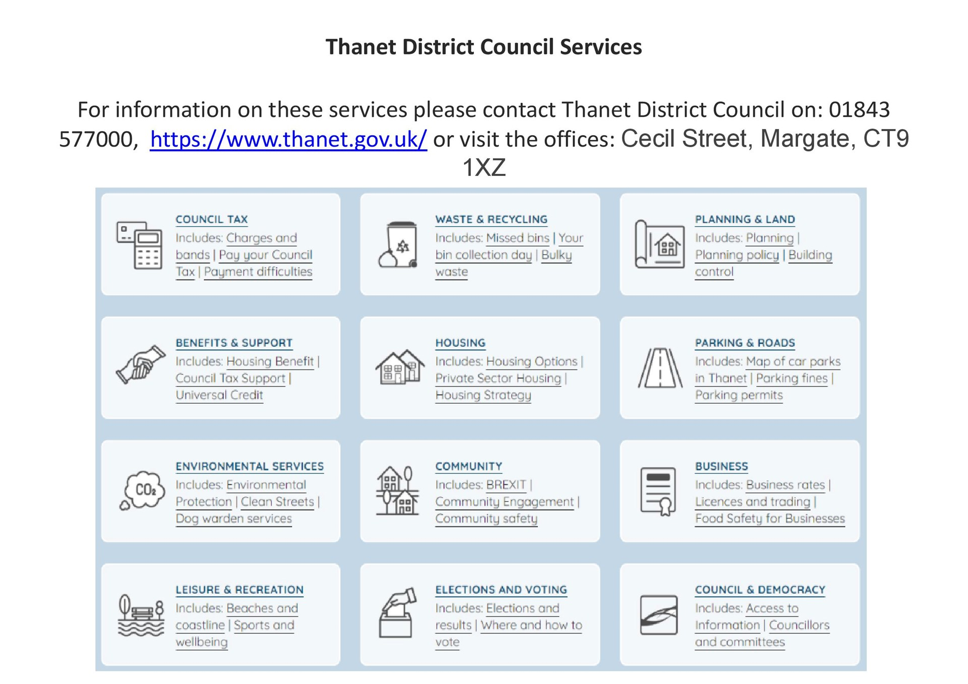 Westgate-on-Sea Town Council Other Useful Contacts