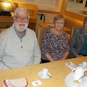 The 2017 Lunch for volunteers at South Downs College. l to r around the table: Trevor, Cheryl and Janet.