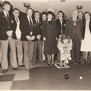 1986. 24hr Short mat bowls marathon. First wood by (Miss Tewkesbury) Sam Bishop.
