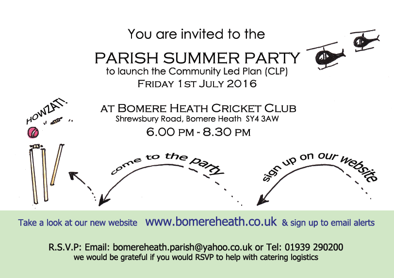Bomere Heath Parish Council HAVE YOUR SAY! PARISH SUMMER PARTY