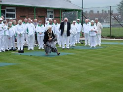 Due to the soft Green The Mayor sportingly took her shoes off to bowl to protct the Green.
