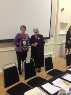Mrs Patricia McLaughlin presenting the Clerk, Anne Chalkley with the Jan Snell Award on behalf of the Parish Council