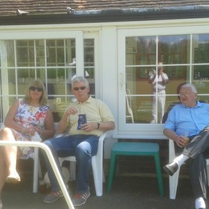 Norma,Rosemary ,Tony relaxing at Windsor before the game