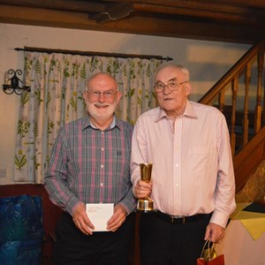 John FitzGerald and Jeff Vigars with the Open Pairs trophy - 2016
