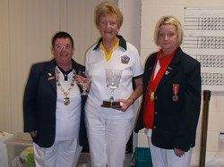 Hampshire Ladies President Mrs Cynthia Abrahams (left), Sue (centre), North Hampshire Ladies 2016 President, Mrs Sheila Andrews (right).