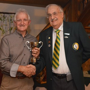 Richard Coombs and Club President Tom Cardoza with the 2-Wood Singles trophy - 2016