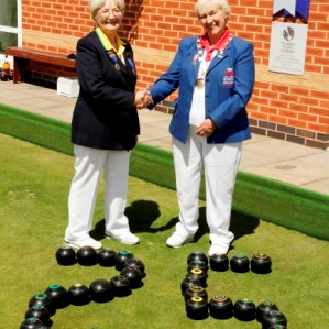 Hart of Fleckney President Kathleen Dickman welcomes Bowls England captain Marcia Dunstone  May28th. 2015