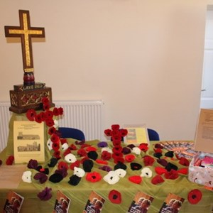 Churches stall and WW1 commemorative poppies