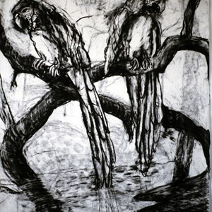 Two Macaws. Charcoal. 1991 Sold £475.00