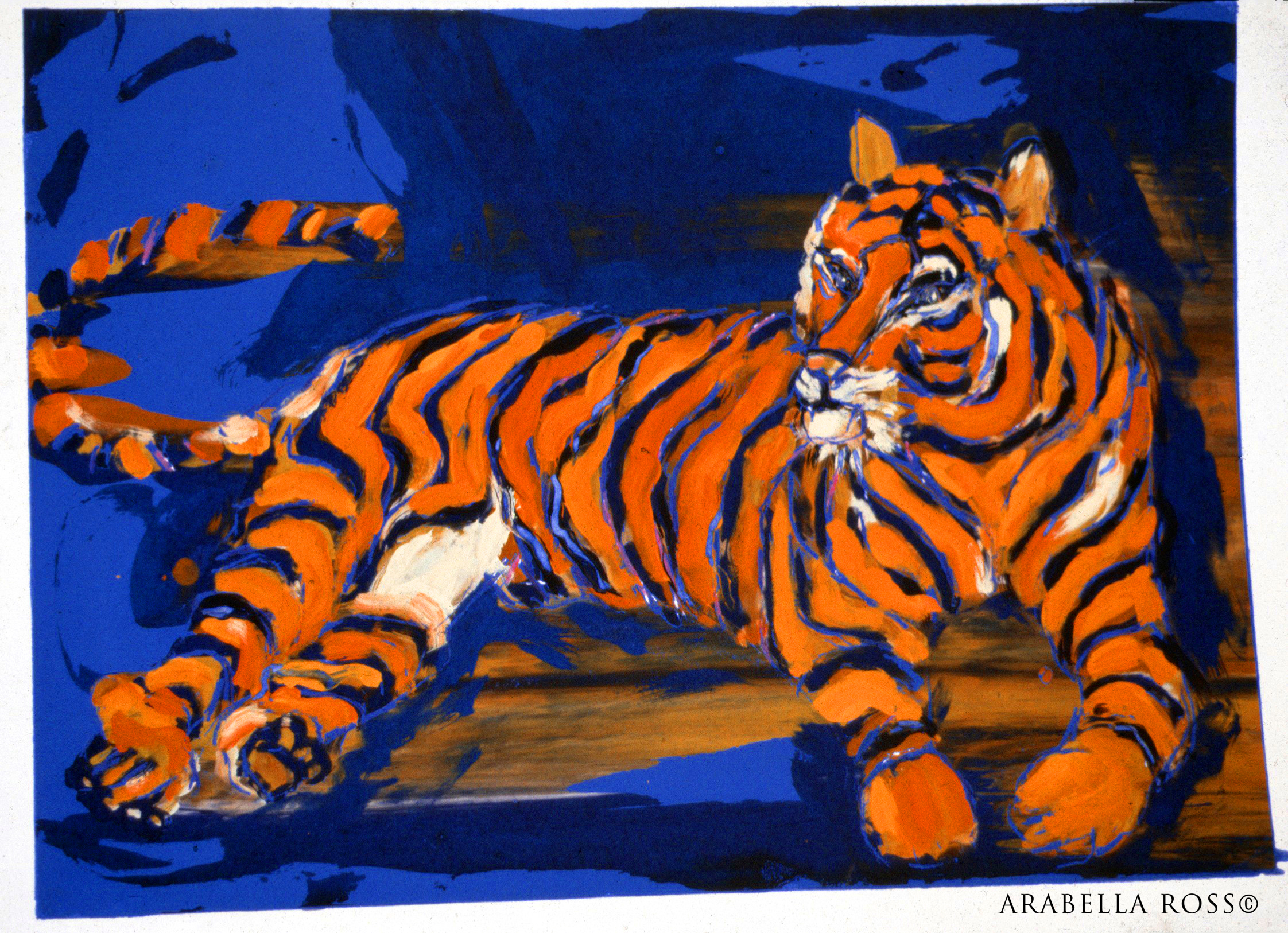 """Tiger Tiger burning bright"". Monoprint in oil.  Sold £150.00"