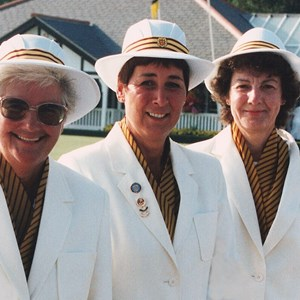 1995, 2003 GWBA Triples Winners. Mo Sutherland, Pam Margrett, Janet Bishop.