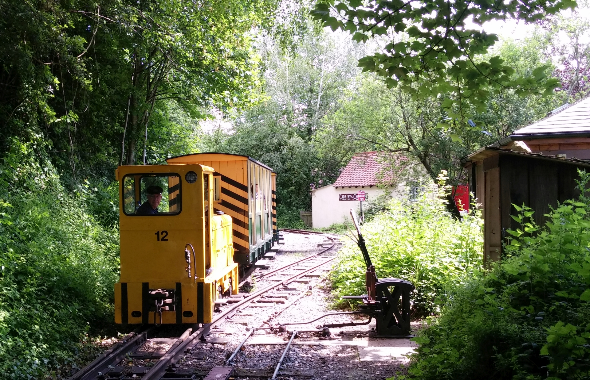 train approaching Amberley station at the Museum