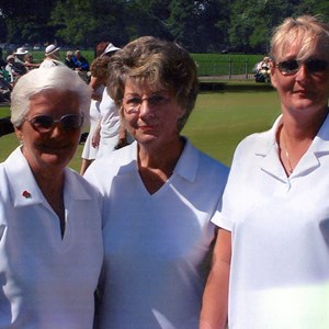 2004 GWBA Triples Winners. Mo Sutherland, Janet Bishop, Fiona Pulley (sub).
