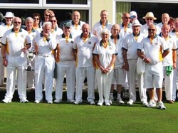Members on Opening Day 2018 with East of Exe Trophy