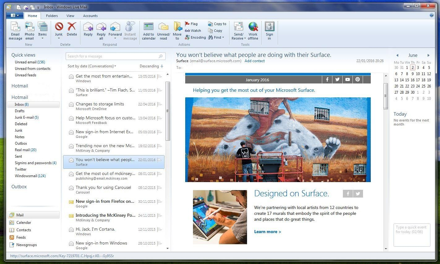 A screenshot of Windows Live Mail, which Microsoft is switching off