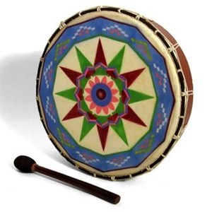 Round, wooden framed drum with string tensioning