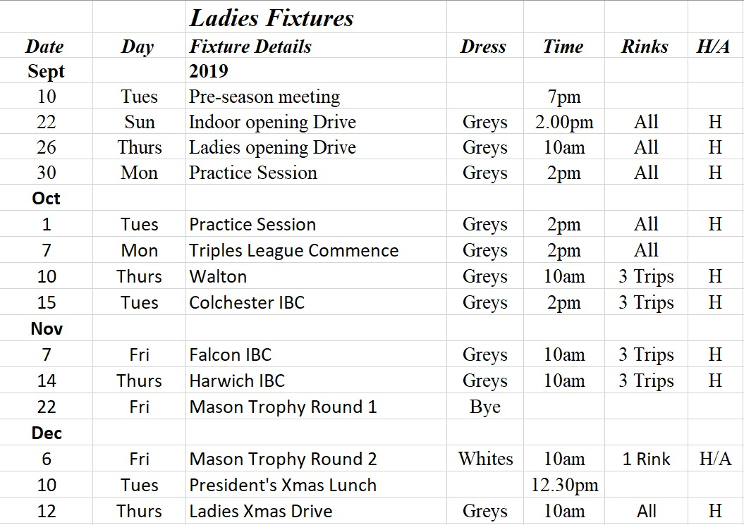 West Mersea Bowls Club Ladies Fixtures