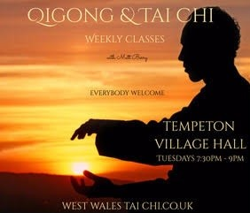 Tai Chi poster for classes restarting 6th October 2020 in the Hall