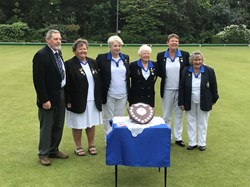 Runners Up 2019 Irene Fairall, Sylvia Hender and Tracy Hamilton, Penny Smith Competitions Secretary for the Ladies, Sheila Murray Ladies Captain and Peter Boeg, Vice President