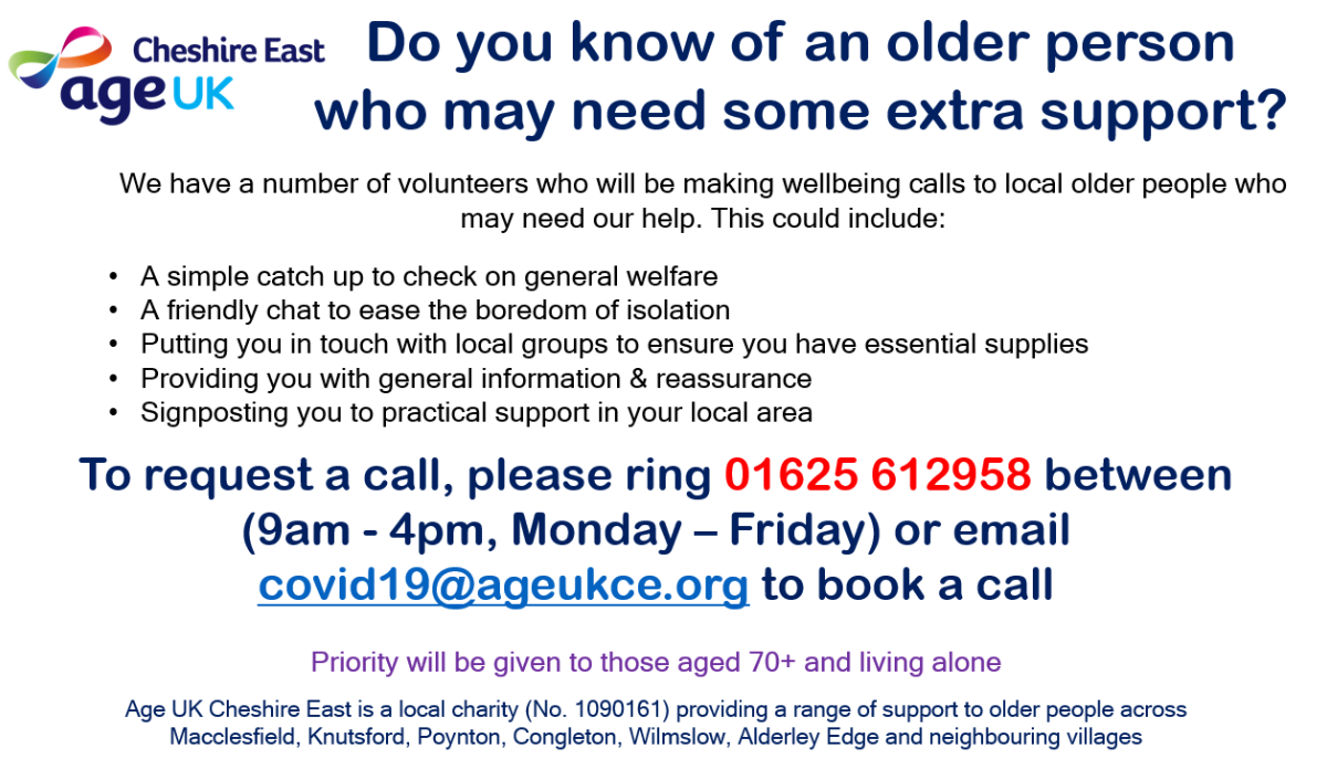 Chelford Parish Council Age UK Support