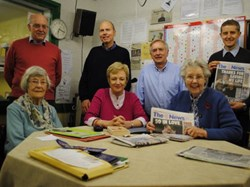 The News Blue Tuesday evening team, l to r: Joyce Smith, Paul Hitchcock, Charlie Timberlake, Cheryl Jewitt, Richard Miller, June Munday (Editor) and Stuart Waterman (Recorder).